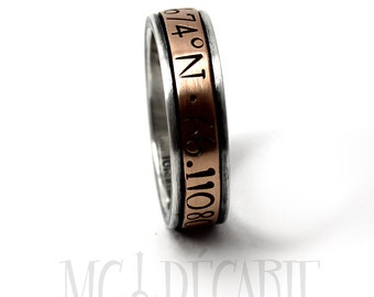 Silver and gold meditation ring, Rose gold, Gold spinner ring, Anxiety ring silver, 7mm wide  #JC216