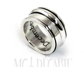 Spinner ring for women, Spinner ring men, meditation ring for women, anxiety ring spinner, Spinner ring sterling silver, 12mm wide #JC114
