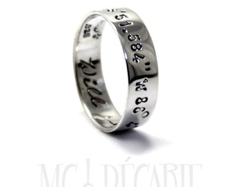 Ring band 5mm 2 engraving or texture included, longitude latitude ring band, 2 personalized engraving inside outside, sterling silver. #J103