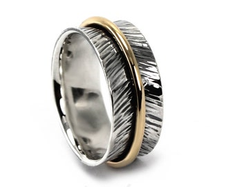 8 mm gold and silver band with lines texture, feather ring, text inside available, solid sterling silver oxidized, silver gold ring. #J153