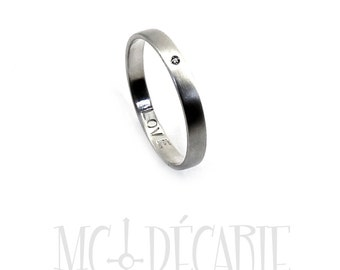 10k White gold and 0.01 ct diamond, 3mm ring band personalized text, 10k white gold rhodium plating, 0,01 ct diamond SI1. #J216
