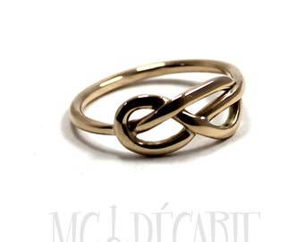 Gold knot ring, 8 figure sailor knot ring made of solid 10k yellow gold, white gold or rose gold, 1.5mm sailor knot ring, wedding ring.#B125