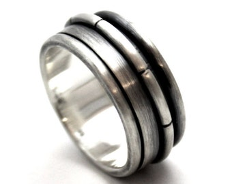 Silver spinner ring, Spinner ring men, meditation ring for men, anxiety ring spinner, Spinner ring sterling silver, 9mm wide #JC115