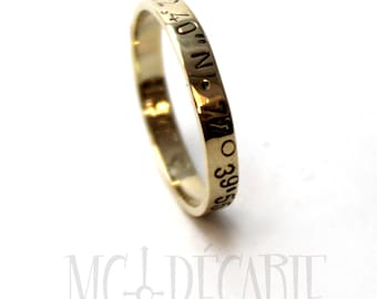 Ring band 3mm 10k solid gold, small coordinates ring yellow gold, personalized with engraving, gps ring longitude latitude. #J220