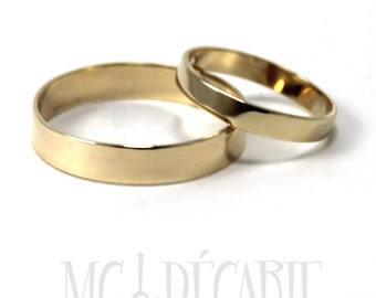 His and Hers; 4mm - 3mm rings set 10K solid yellow gold, 2 engravings included on each rings, dates and names can be engraved inside. #EJ107
