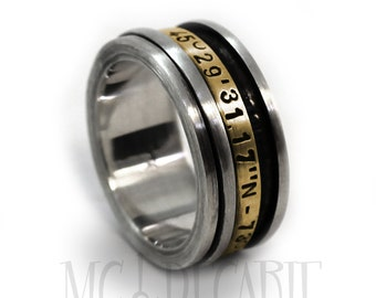 Spinner ring gold, Anxiety ring silver, Spinner ring anxiety, 9mm wide #JC220