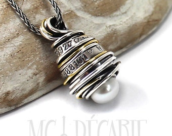 Necklace silver and gold with text and pearl, up to 10 words custom pendant, quote, gift for her, gift for mom, mothers day gift. #PT146