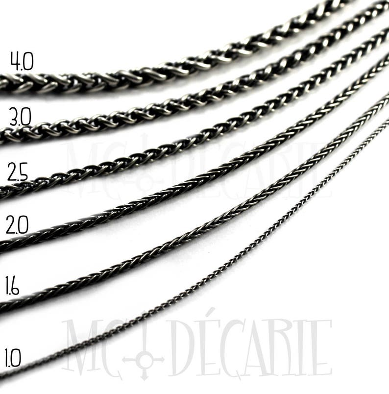 Wheat chain in solid sterling 16 to 36 inches custom length image 0