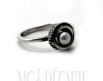 Tiny white Pearl Ring with wire wrapped swirl around freshwater pearl and a little twisted wire, with sterling silver, small ring. #B139
