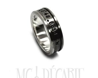 Spinner ring men, meditation ring for men, meditation ring for women, Silver spinner ring, silver ring band, coordinates ring, 7mm #JC122
