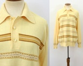 1970s Hipster Sweater Shirt Polo Button Neck Collared Pullover Super Soft Knit Long Yellow Stripes Vintage 70s Boyfriend Slouchy Top Large L
