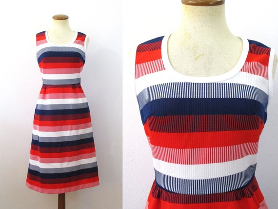 1970s Sundress Red White Blue Striped Dress High Waisted Sleeveless Flared Skirt Fitted Waist Mod Scoop Neck Mini Midi A line BBQ Small S