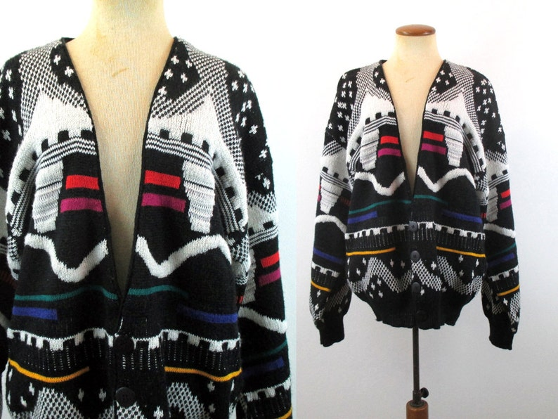 d56aca47605 Crazy Cosby Sweater Vintage 80s Cardigan LOUD Oversize Bright Abstract V  Neck Knit Button Geometric Hipster Boho Black Slouchy 1980s L Large