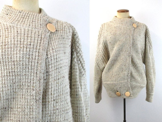 6b370b39d4b656 1980s Cocoon Wrap Sweater Oatmeal Cardigan Chunky Knit Dolman