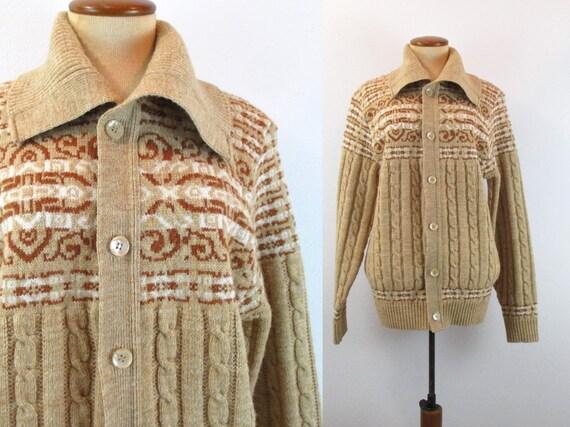 9160ddaef39e 1970s Nordic Cardigan Grandpa Sweater Cable Knit Fold Over
