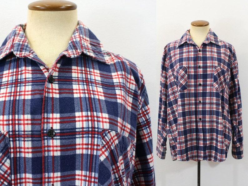 68d41200f8b94 1970s Flannel Shirt Plaid Blue Red Lumberjack Boyfriend | Etsy