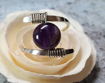 Ring Sterling Silver Wire Wrapped Purple Amethyst adjustable #1425