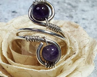 Ring Sterling Silver Wire Wrapped Purple Amethyst adjustable #1448