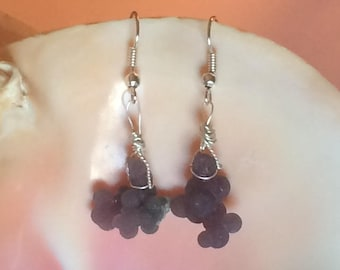 Grape Agate Botryoidal Chalcedony Earrings Wire Wrapped Jewelry