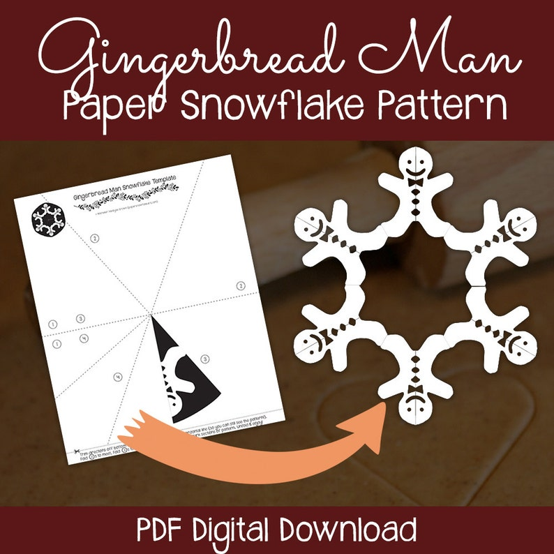 graphic relating to Gingerbread Man Patterns Printable known as Gingerbread Male Paper Snowflake Behavior (PDF Electronic Obtain) - Paper Snowflake Printable Template - Gingerbread Gentleman Behavior