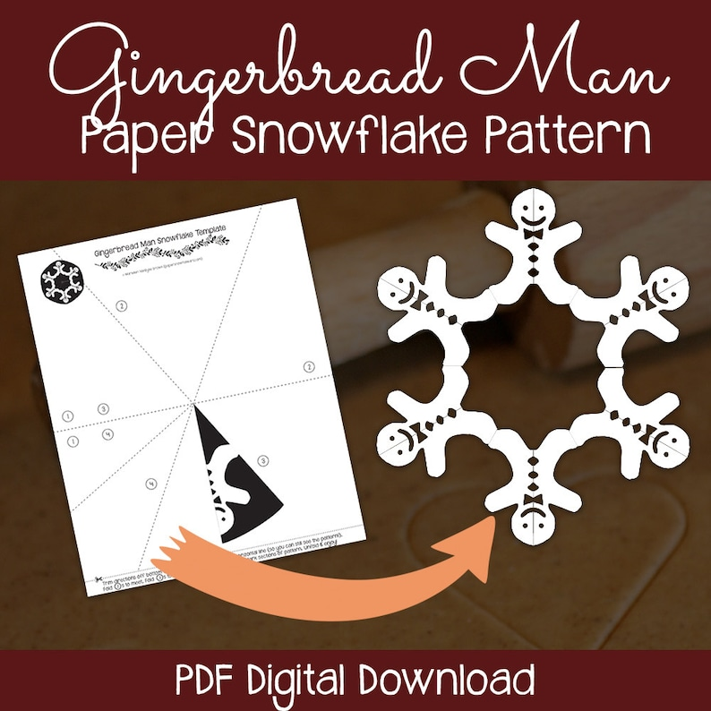 image relating to Gingerbread Man Patterns Printable known as Gingerbread Guy Paper Snowflake Practice (PDF Electronic Obtain) - Paper Snowflake Printable Template - Gingerbread Gentleman Behavior