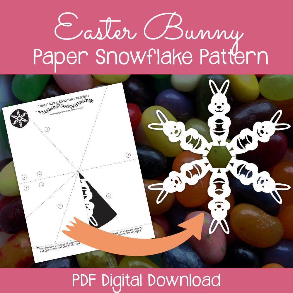 Easter Bunny Paper Snowflake Pattern Pdf Digital Download Etsy