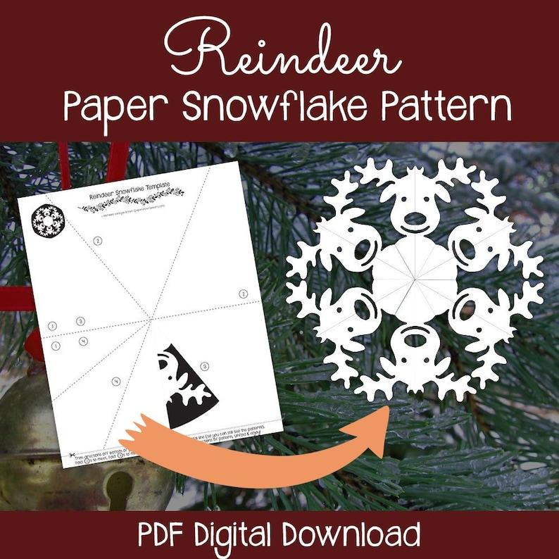 Reindeer Paper Snowflake Pattern (PDF Digital Download) - Paper Snowflake  Printable Template - Christmas Reindeer Pattern