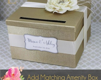 Wedding Card Box Champagne and Ivory Rose Money Holder Customizable