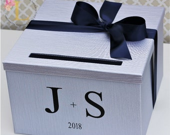 Wedding Card Box Silver Navy Blue Monogram Card Box Money Holder Customizable