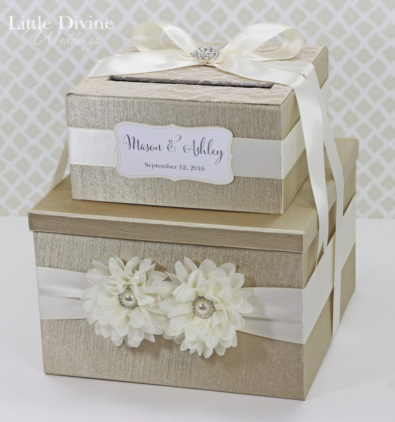 2 Tier Wedding Card Box Champagne Gold Ivory Lace Flower image 0