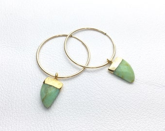 Natural Chrysoprase hoop earrings in your choice of size hoop