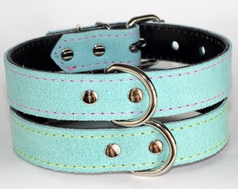 Leather Stone Washed Turquoise Collar - Light Turquoise Leather Dog Collar - Leather Dog Collar, Turquoise Leather Dog Collar