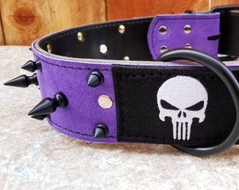 """Punisher Dog Collar - Leather Dog Collar - 2"""" Purple Suede Spiked Leather Dog Collar With Embroidered Punisher Patch"""