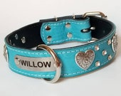 1.5 quot Teal Floral Leather Dog Collar - Custom Name Plate Dog Collar - Dog Collar With Hearts and crystals