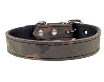 f4e66b7f6c0863 Camo Dog Collar - Genuine Leather Dog Collar - Camouflage Leather Dog Collar  - Camo Dog Collar With Nickle Hardware - Made In USA