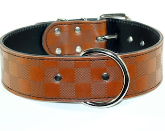 Brown Checkered Leather Dog Collar - Checkered Dog Collar - Brown Leather Dog Collar - Leather Checkered Brown Dog Collar - Made In Usa