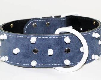 "Denim Blue Spiked Dog Collar - Blue Suede Leather Collar - 2"" White Spiked Collar - Leather Dog Collar - Bully Collar"