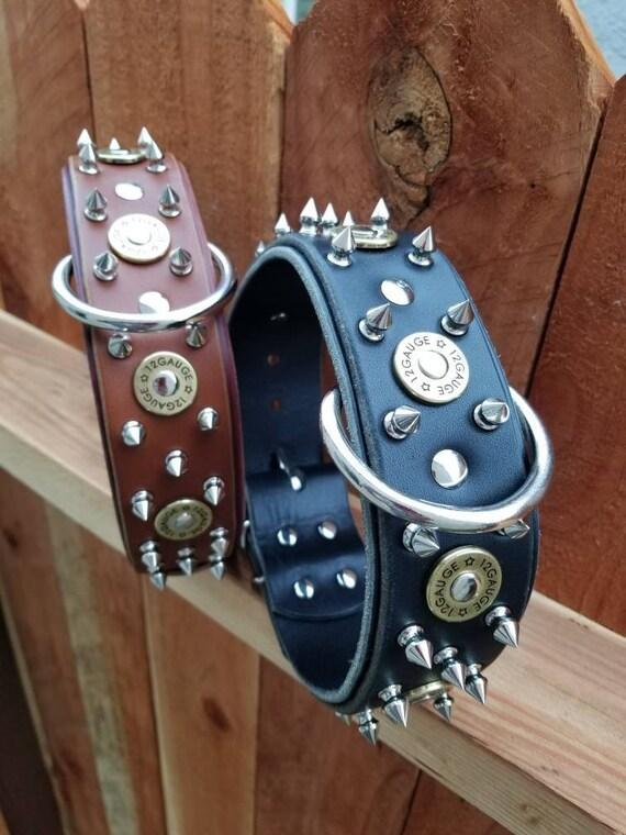 """Collier de chien calibre 12 fusil de chasse Shell - 2"""" fusil de chasse Shell en cuir collier pour chien - collier de chien en cuir noir - cuir clouté balle chien"""
