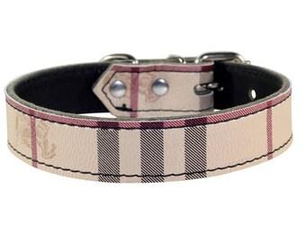 Plaid Dog Collar - Plaid Leather Dog Collar - Leather Collar - Plaid Dog Collar With Nickle Hardware - Made In USA