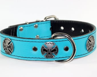 """Turquoise Leather Dog Collar - Skull Leather Dog Collar - 1.5"""" Leather Iron Cross Skull Collar - Skull Leather Collar - Made In USA"""