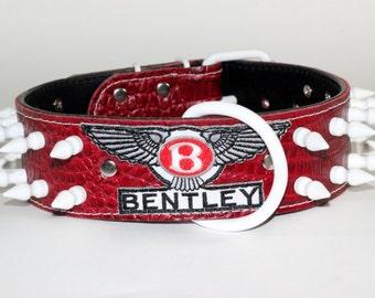 "Red Leather Bentley Dog Collar, 2"" Bentley Leather Dog Collar, Spiked Bentley Dog Collar, Spiked Leather Bentley Dog Collar"