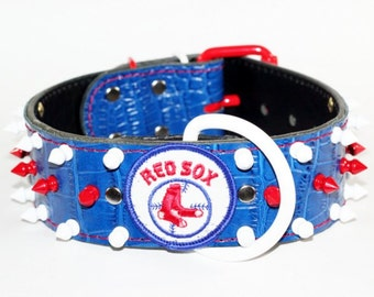 """Boston Red Sox Leather Dog Collar, 2"""" Spiked Boston Red Sox Leather Dog Collar, Spiked Red Sox Dog Collar, Spiked Leather Red Sox Dog Collar"""