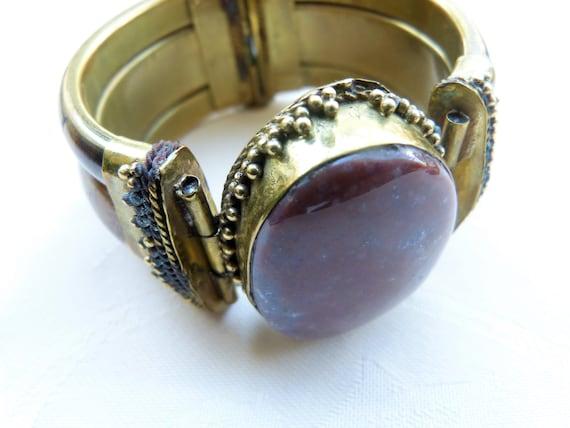 Vintage Hinged Brass Bracelet with large Jasper Cabochon