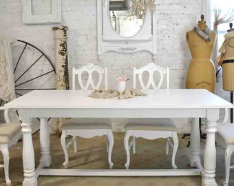 Dining Table Painted Cottage Chic Shabby White French Dining Table TBL202