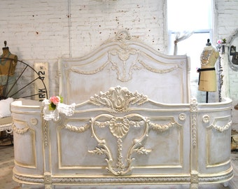 RESERVE LISTING Cindy Painted Cottage Shabby  French Romantic Bed  KING  BD718