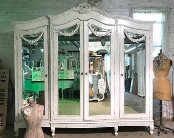 French Armoire Painted Cottage Chic Shabby French Romantic Armoire/ Wardrobe / Media Cabinet
