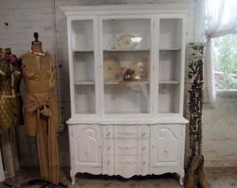 Vintage Painted Cottage Shabby White Romantic China Cabinet CC204