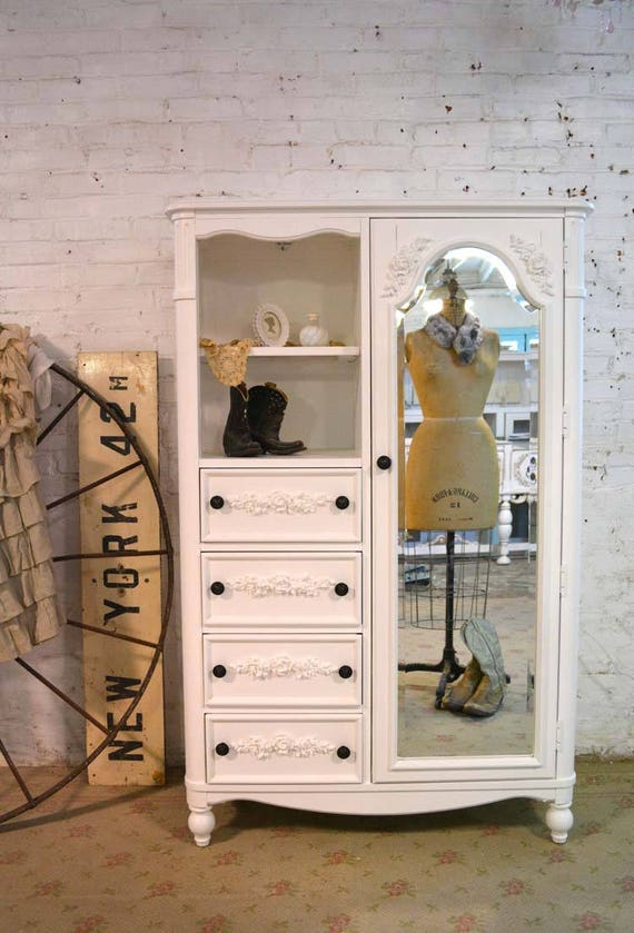 Painted Cottage Chic Shabby Romantic French Armoire ...