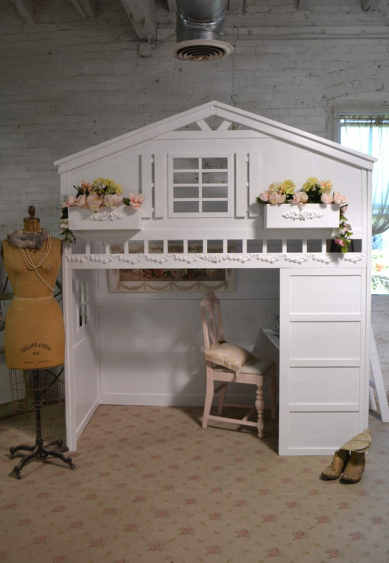Awe Inspiring Painted Cottage Shabby Chic Romantic Cottage Loft Bed Download Free Architecture Designs Grimeyleaguecom