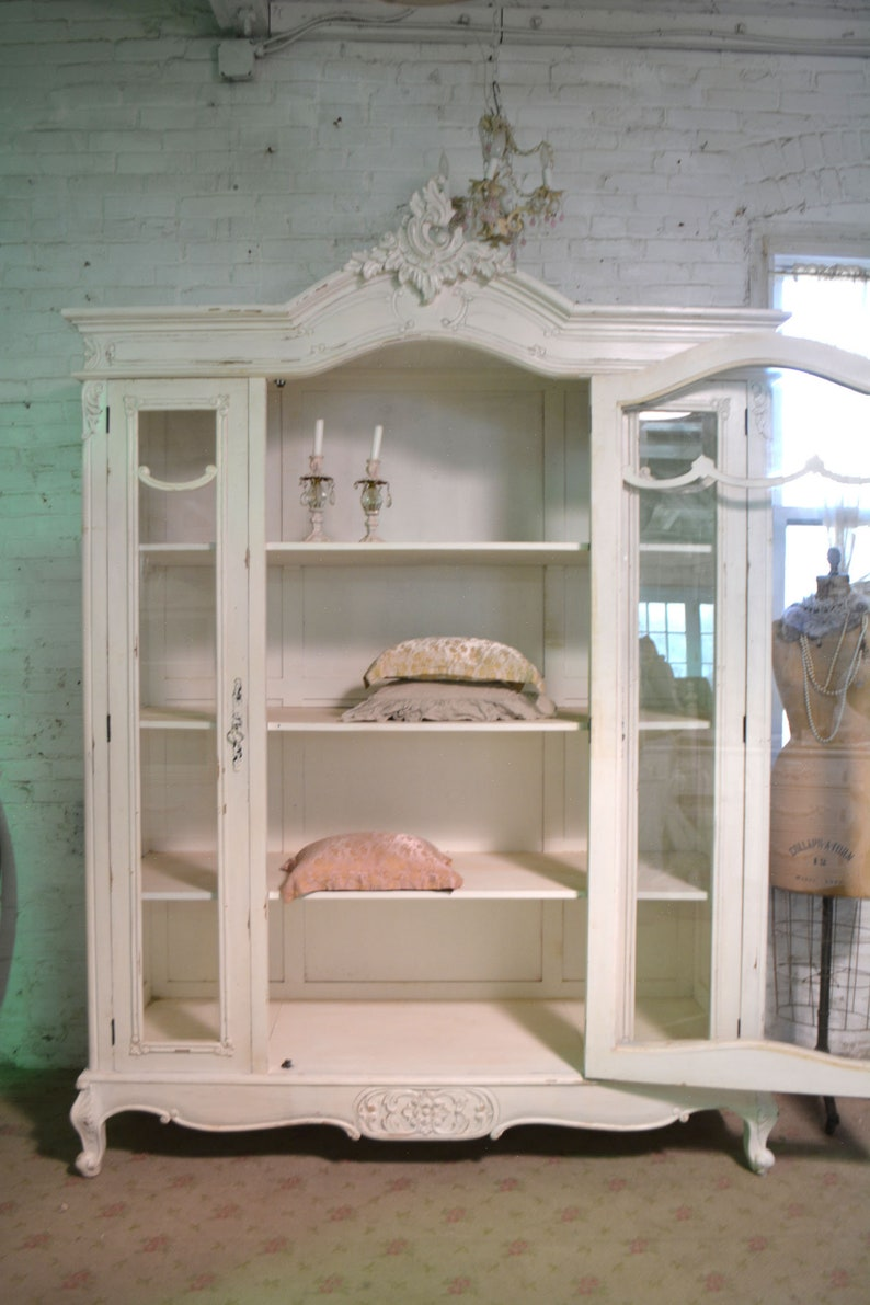 Painted Cottage Chic Shabby French Farmhouse China Linen Cabinet